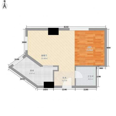 名都中央广场1厅1卫1厨60.00㎡户型图
