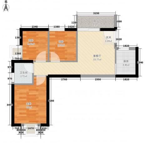 湖边花园3室1厅1卫1厨71.00㎡户型图