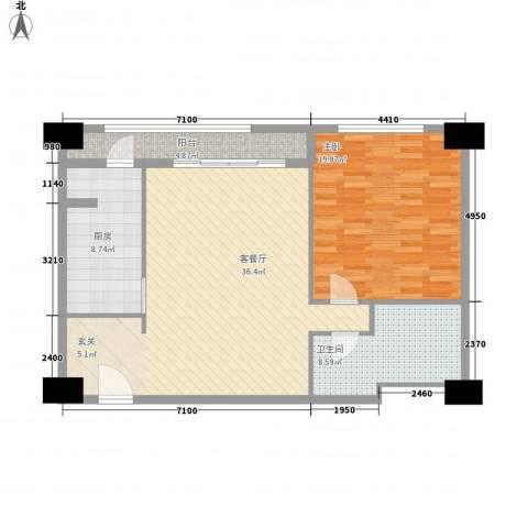 名都中央广场1室1厅1卫1厨110.00㎡户型图