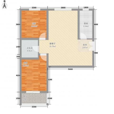 名都中央广场2室1厅1卫1厨98.00㎡户型图