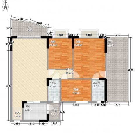 芳菲苑3室1厅2卫1厨157.00㎡户型图