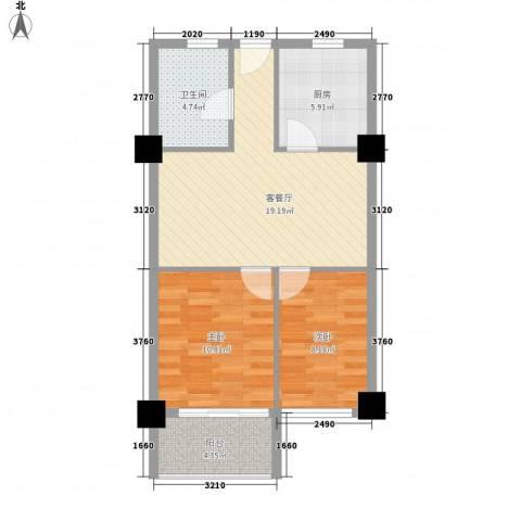 馥邦商务广场2室1厅1卫1厨76.00㎡户型图