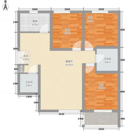 名都中央广场3室1厅2卫1厨121.00㎡户型图