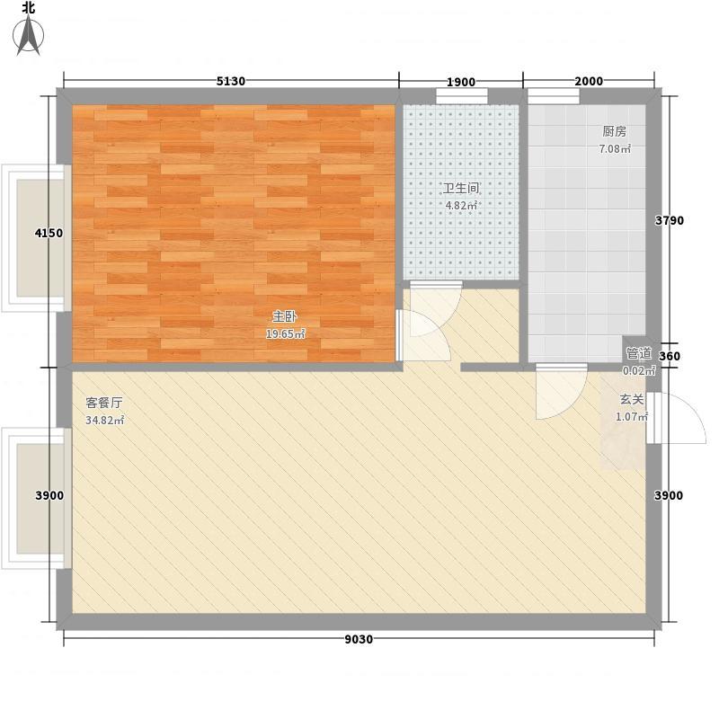 金海国际户型1室2厅1卫1厨