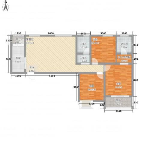 星湖101广场3室1厅3卫1厨129.00㎡户型图