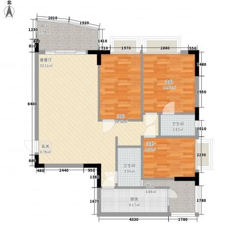 芳菲苑3室1厅2卫1厨117.00㎡户型图
