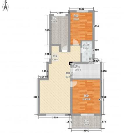 周新苑2室1厅1卫1厨90.00㎡户型图