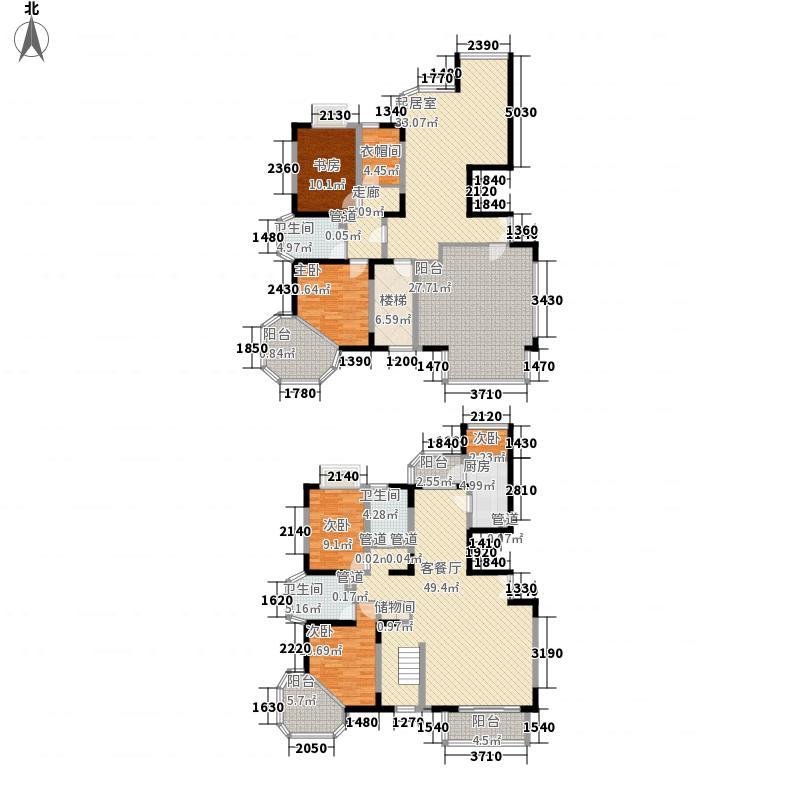 正茂御景东方306.68㎡C复式户型5室3厅3卫1厨