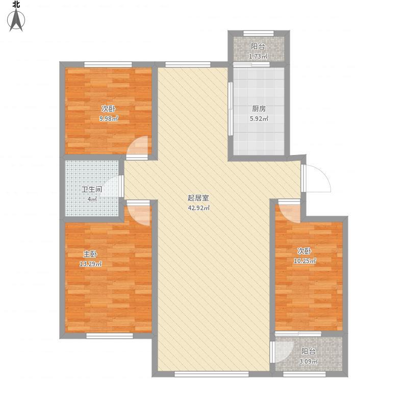 物华兴洲苑三期U户型117.5平米户型图