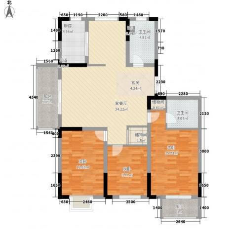 滨河御景3室1厅2卫1厨138.00㎡户型图