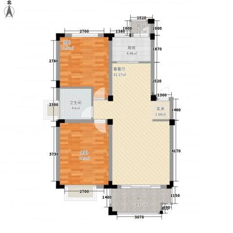 安正御龙湾2室1厅1卫1厨74.16㎡户型图