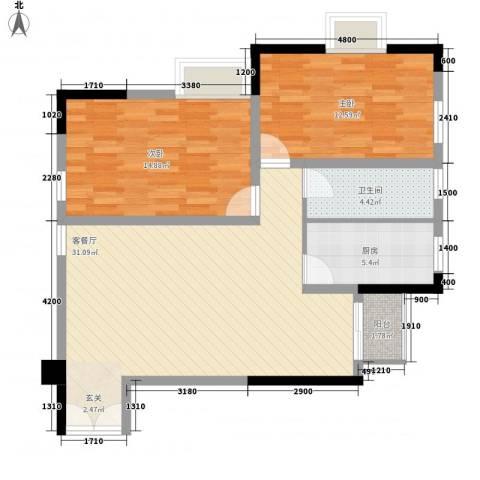 梦泽园美美公馆2室1厅1卫1厨103.00㎡户型图