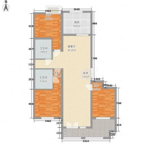 君正・红石云顶花苑3室1厅2卫1厨151.00㎡户型图
