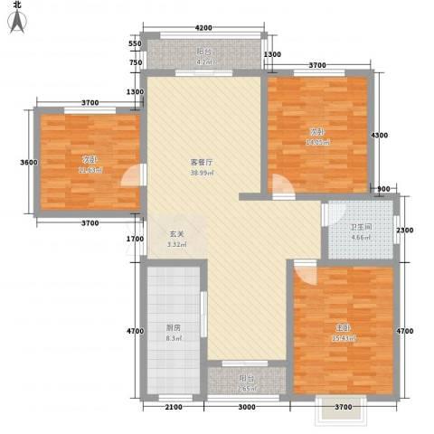 城北新村3室1厅1卫1厨143.00㎡户型图