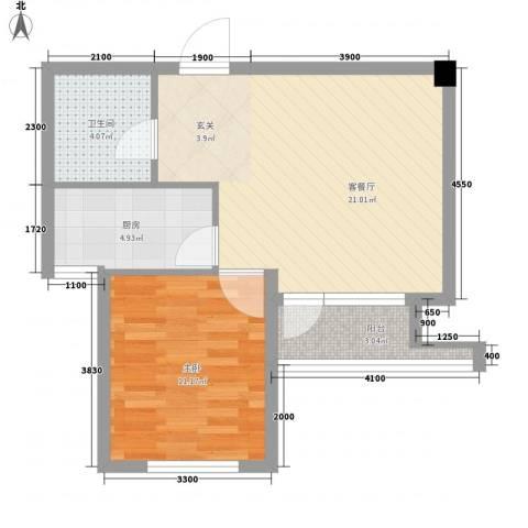 长城世纪华府1室1厅1卫1厨61.00㎡户型图