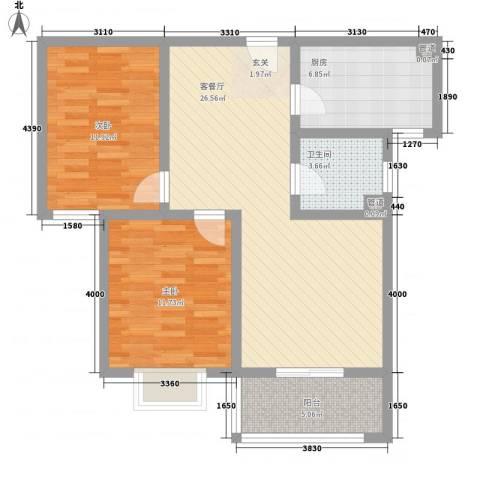 和信花园2室1厅1卫1厨96.00㎡户型图