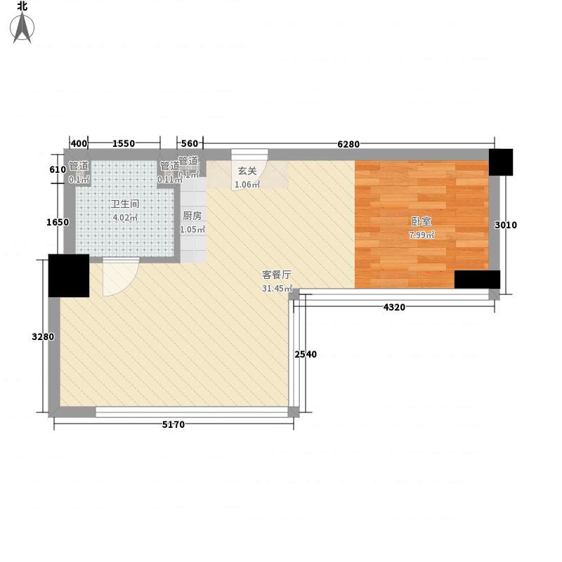 第九街区51.21㎡第九街区户型图B户型1室1厅1卫户型1室1厅1卫
