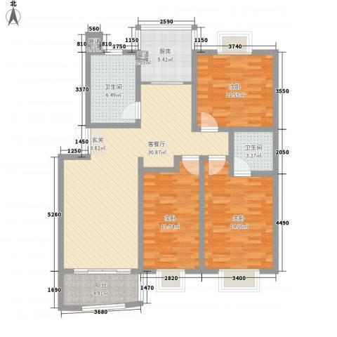 水映盛唐3室1厅2卫1厨129.00㎡户型图