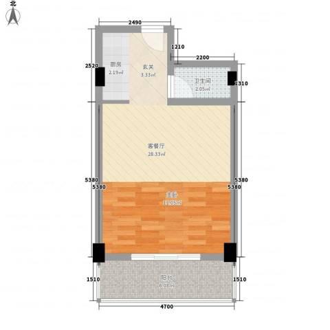 椰岛滨海国际公寓1厅1卫0厨52.00㎡户型图