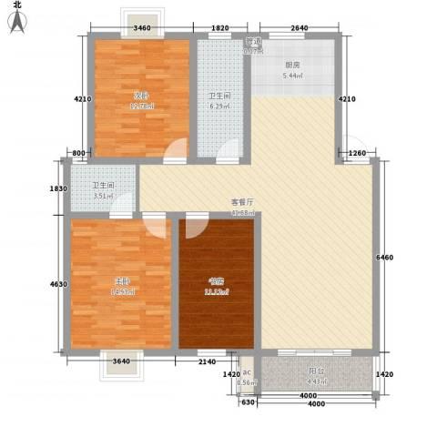 凯莱花园3室1厅2卫0厨136.00㎡户型图