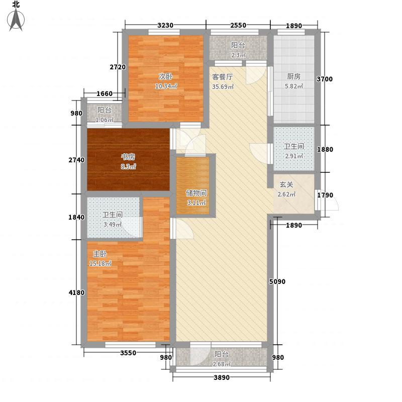 力挽秀水华宸133.00㎡A2户型3室2厅2卫1厨