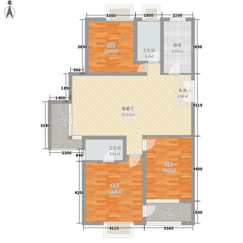 风景翰苑115.20㎡2#6#小高层标准层F1户型3室2厅2卫