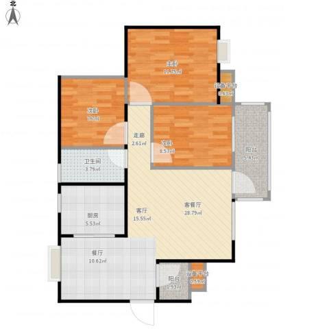 龙湾上城3室1厅1卫1厨102.00㎡户型图