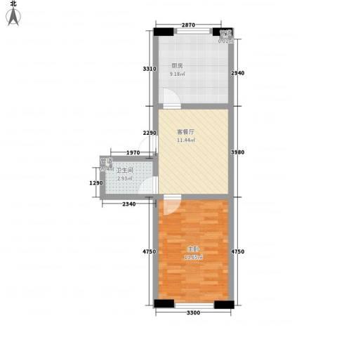 扬州念香苑1室1厅1卫1厨55.00㎡户型图