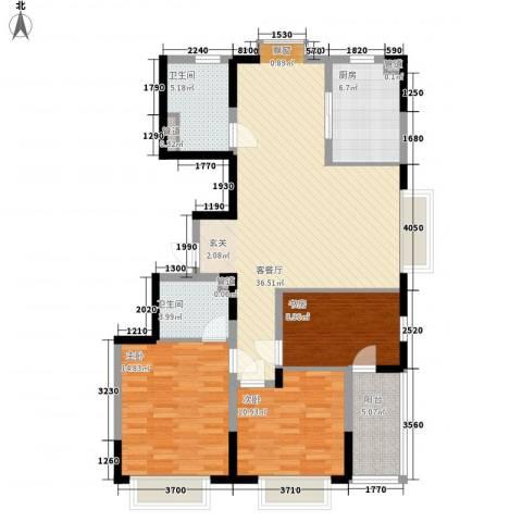 万邦・翰林郡3室1厅2卫1厨134.00㎡户型图