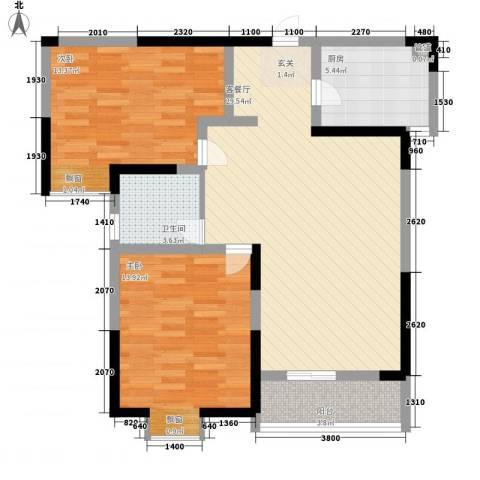 万邦・翰林郡2室1厅1卫1厨69.77㎡户型图