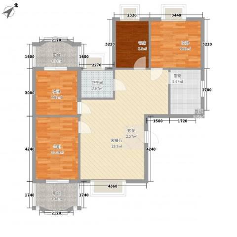 新浪屿花园4室1厅1卫1厨118.00㎡户型图