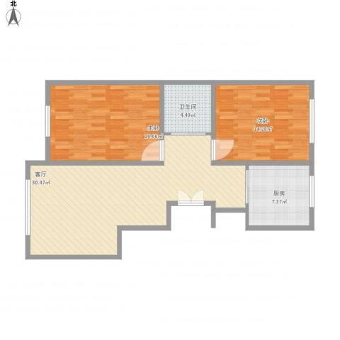 豪邦缇香公馆2室1厅1卫1厨102.00㎡户型图