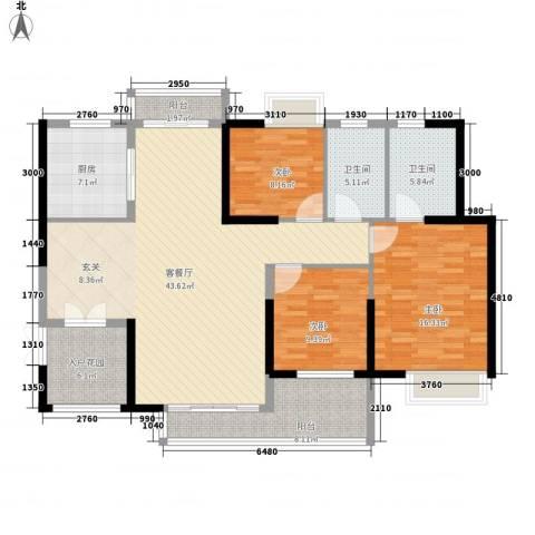 滨江豪园3室1厅2卫1厨111.73㎡户型图