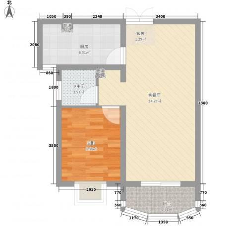 国际丽都城1室1厅1卫1厨67.00㎡户型图