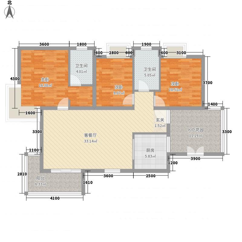 沿海丽水佳园122.70㎡3期B1户型3室2厅2卫1厨