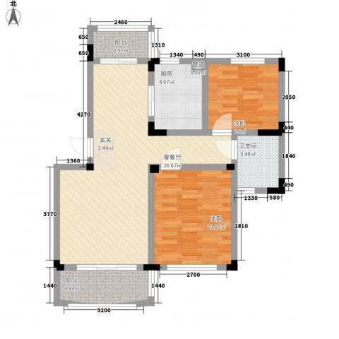 奇瑞龙湖湾2室1厅1卫1厨82.00㎡户型图