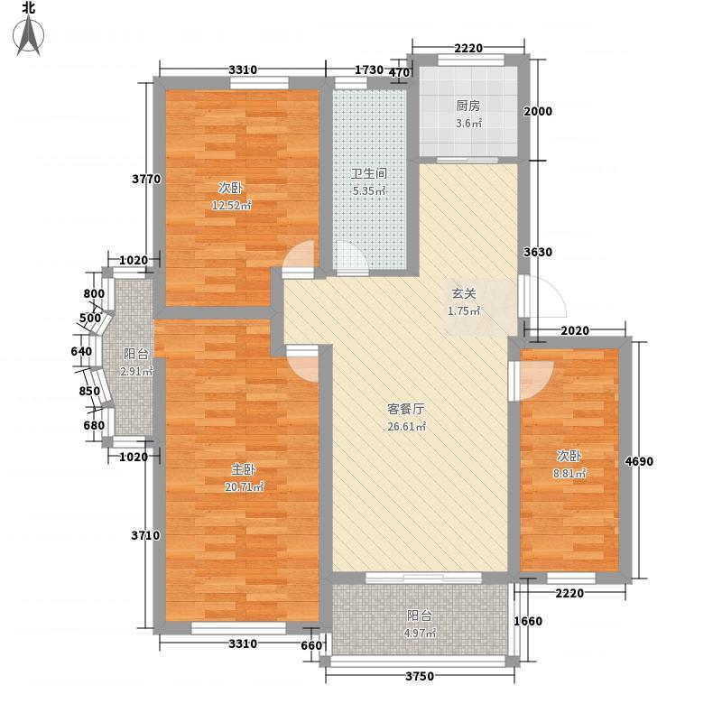 宏泰花园11.00㎡户型3室2厅1卫1厨