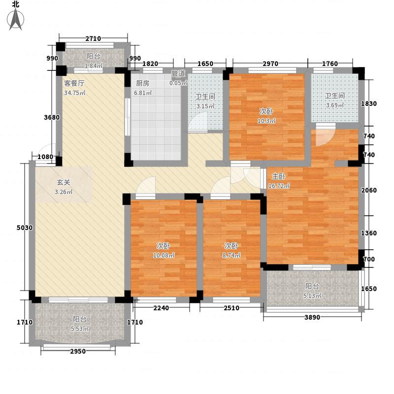 奇瑞龙湖湾户型图E户型 4室2厅2卫1厨
