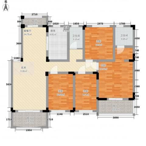 奇瑞龙湖湾4室1厅2卫1厨136.00㎡户型图
