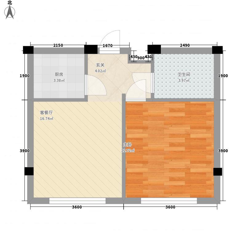 贵族人家50.00㎡贵族人家户型图1室1厅1卫1厨户型10室