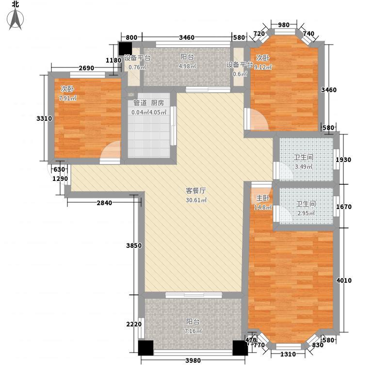 华龙・莱茵美郡128.00㎡26#三居户型3室2厅2卫1厨