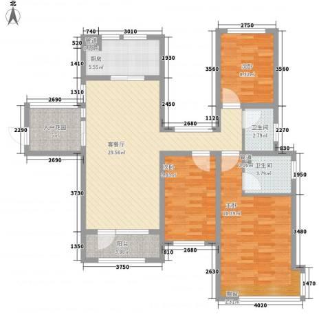 首创悦府3室1厅2卫1厨127.00㎡户型图
