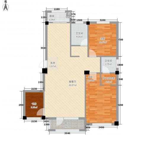 中瀛臻堡3室1厅2卫1厨99.22㎡户型图