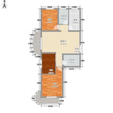 国际丽都城3室1厅2卫1厨122.00㎡户型图