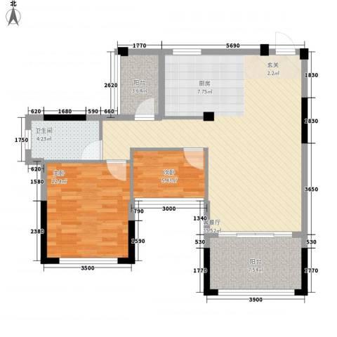 星湖101广场2室1厅1卫0厨97.00㎡户型图