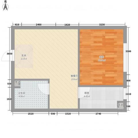 北欧假日三期1室1厅1卫1厨52.00㎡户型图