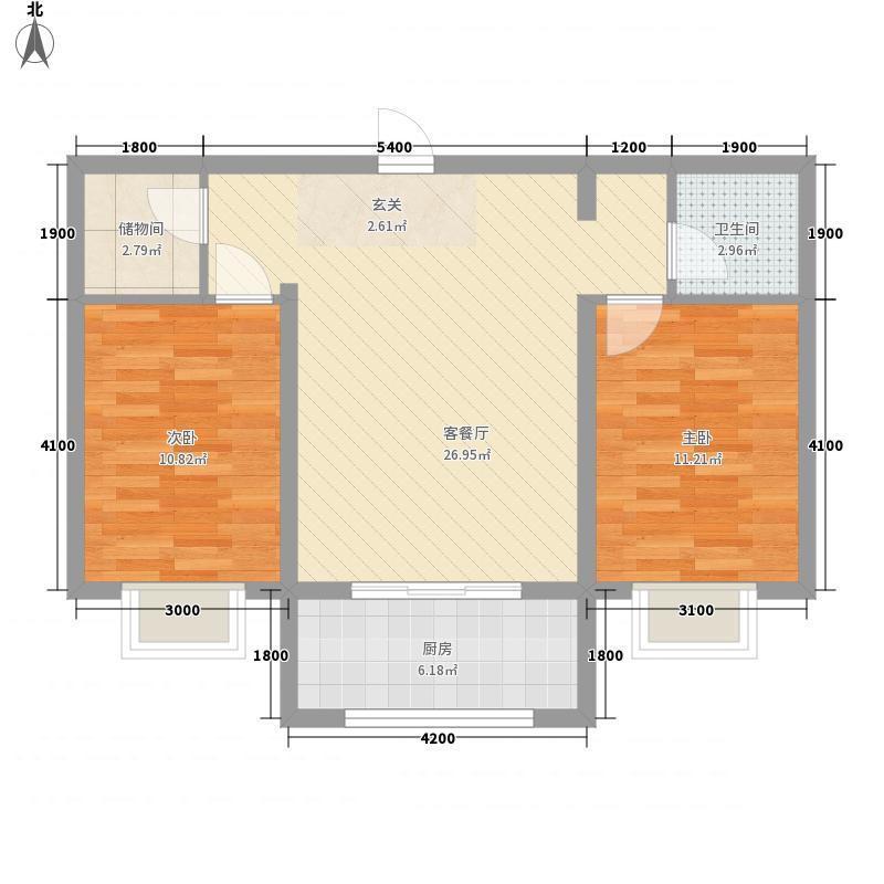 天艺时代城77.33㎡03户型2室1厅1卫