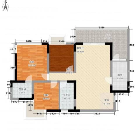 海杨城二期3室1厅2卫1厨120.00㎡户型图