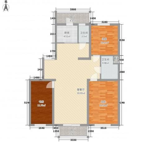 如意名苑3室1厅2卫1厨129.00㎡户型图