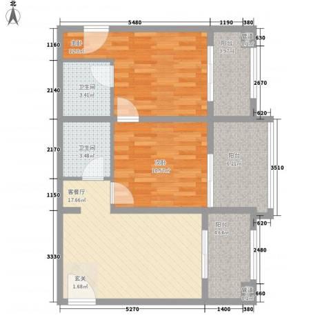 阳光小区2室1厅2卫0厨90.00㎡户型图